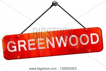 greenwood, 3D rendering, a red hanging sign