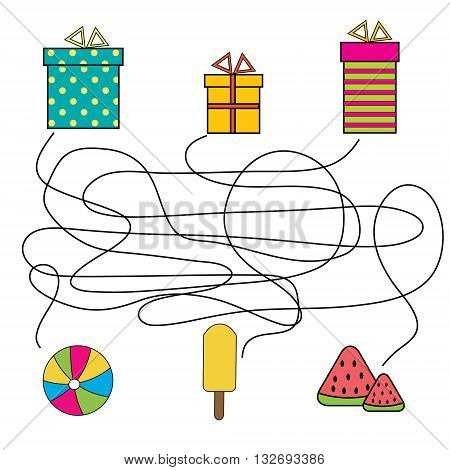 Matching game. Match the gift box with object. Educational children game with maze.