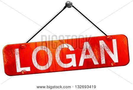 logan, 3D rendering, a red hanging sign