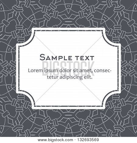 Vector background with frame and celtic ornament. Template for menu, gift card or packing. Website manner