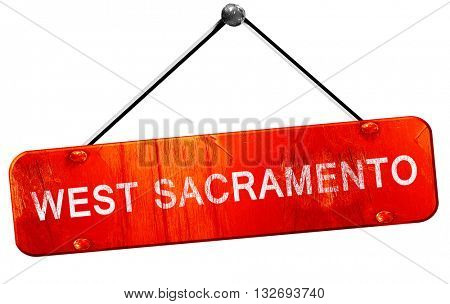 west sacramento, 3D rendering, a red hanging sign