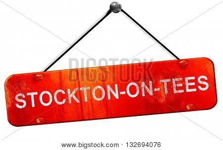 Stockton-on-tees, 3D rendering, a red hanging sign