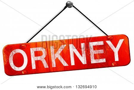 Orkney, 3D rendering, a red hanging sign
