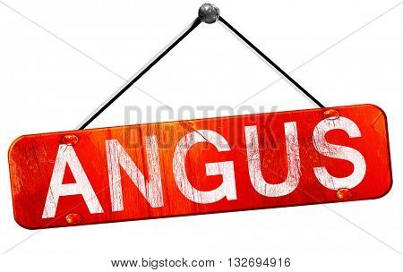 Angus, 3D rendering, a red hanging sign