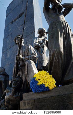 UKRAINE KHARKOV JUNE 28 2014:Taras Shevchenko Monument (to Ukrainian poet writer artist and thinker).Sculptor Matvey Manizer1935