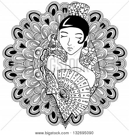 Vector spanish girl in doodle style on mandala background