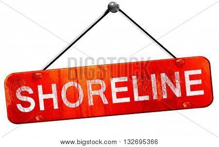 shoreline, 3D rendering, a red hanging sign
