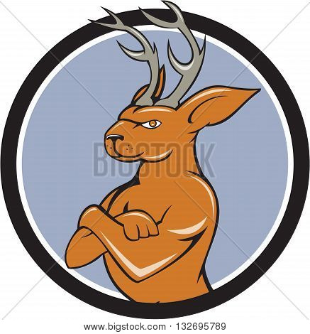 Illustration of a jackalope a mythical animal of North American folklore described as a jackrabbit with antelope horns or deer antlers with arms crossed viewed from the side set inside circle done in cartoon style.