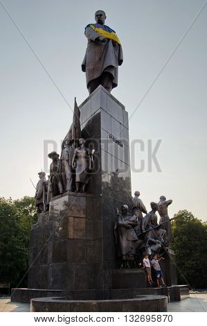 KHARKOV UKRAINE - AUGUST 11 2014: monument to Taras Shevchenko famous poet and writer. Built in 1935 by sculptor Manizer and architect Langbard.
