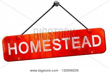 homestead, 3D rendering, a red hanging sign