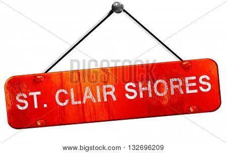 st. clair shores, 3D rendering, a red hanging sign
