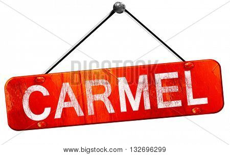 carmel, 3D rendering, a red hanging sign