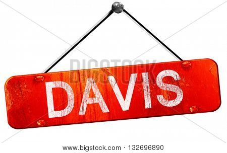 davis, 3D rendering, a red hanging sign