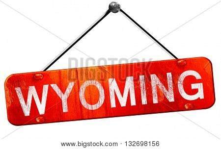 wyoming, 3D rendering, a red hanging sign