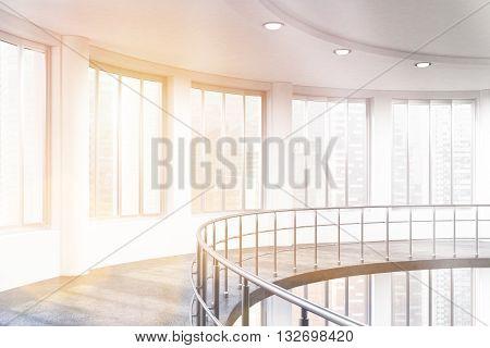 Sunlit Interior With Railing