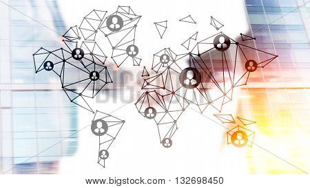 Global social network concept with businessmen shaking hands on building background. Double exposure