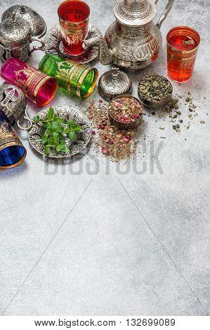 Tea with mint leaves. Herbal tea. Green tea. Oriental hospitality concept. Ramadan kareem