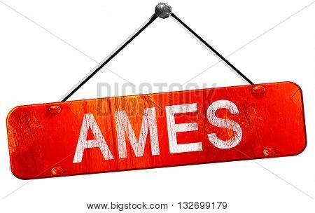 ames, 3D rendering, a red hanging sign