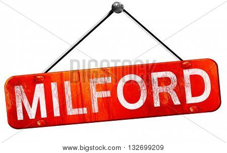 milford, 3D rendering, a red hanging sign