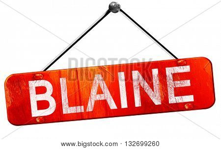 blaine, 3D rendering, a red hanging sign