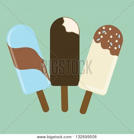 Set of flat ice cream popsicles. Three types of ice cream popsicles
