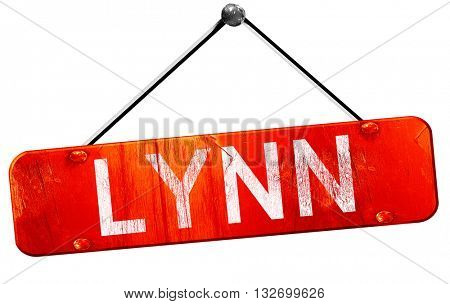 lynn, 3D rendering, a red hanging sign