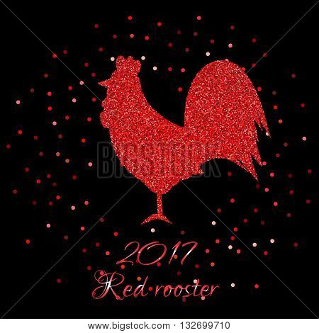 Glittering Red rooster. Sparkling cock and red confetti. Vector illustration of 2017 new year symbol