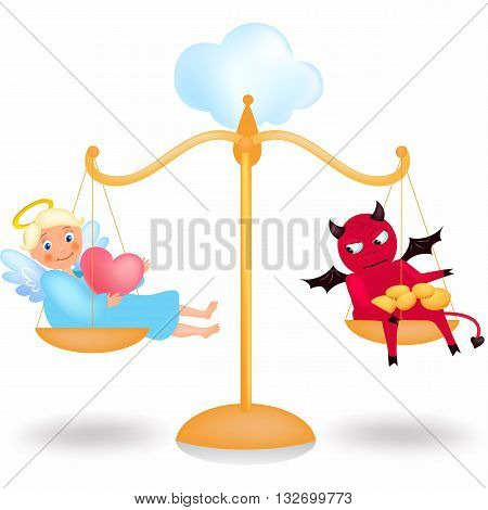 Allegory Angel and demon on balance, vector illustration