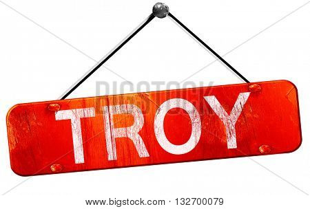troy, 3D rendering, a red hanging sign
