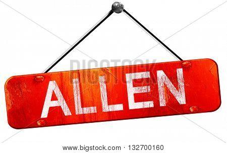 allen, 3D rendering, a red hanging sign