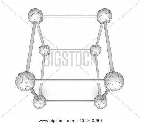 Cube system - brushed aluminium soccer balls 3d illustration