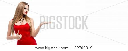 Your text here. Portrait of beauty young woman advertising your product. Fashionable clothing, jewelry. Woman holding finger up and shows the white background