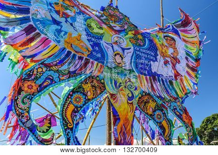 Sumpango Guatemala - November 1 2015: Giant kite at giant kite festival on All Saints' Day to honor spirits of dead.