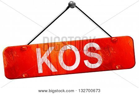 Kos, 3D rendering, a red hanging sign