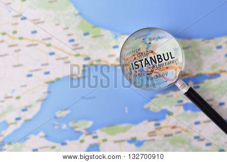 Consultation With Magnifying Glass Map Of Istanbul