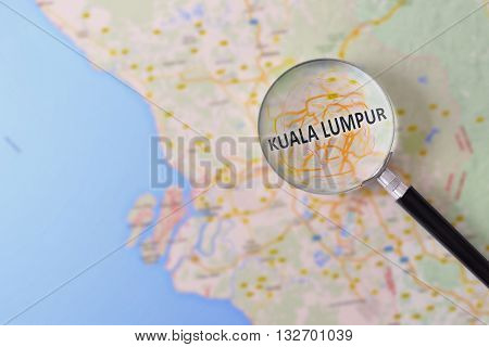 Consultation With Magnifying Glass Map Of Kuala Lumpur