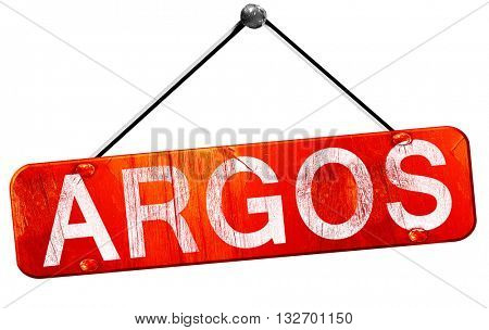 Argos, 3D rendering, a red hanging sign