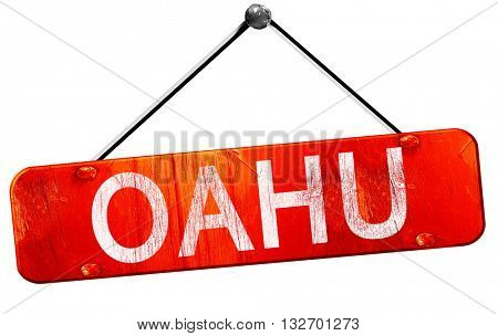 Oahu, 3D rendering, a red hanging sign
