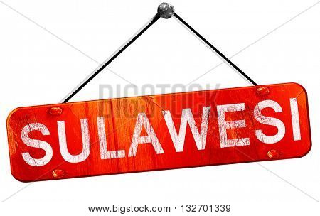 Sulawesi, 3D rendering, a red hanging sign