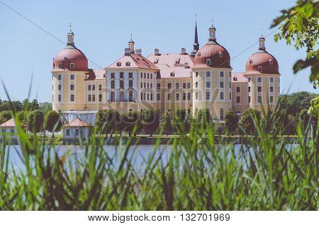 Moritzburg Castle, spring, reeeds on foreground, Dresden District, Germany