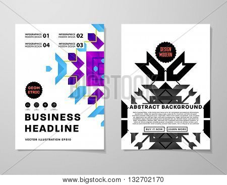 Abstract Geometric Background. Geometric Shapes and Frames for Presentation, Annual Reports, Flyers, Brochures, Leaflets, Posters, Business Cards and Document Cover Pages Design. A4 Title Template