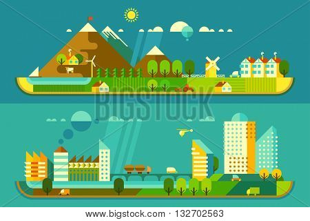 Panoramic landscape with ecology concept and concept pollution