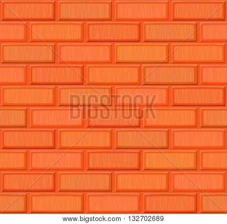 Cartoon Hand Drown Multicolored Realistic Seamless Brick Wall Texture. Vector Illustration