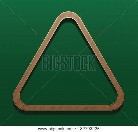 Empty billiard rack. Vector illustration on gradient green background.