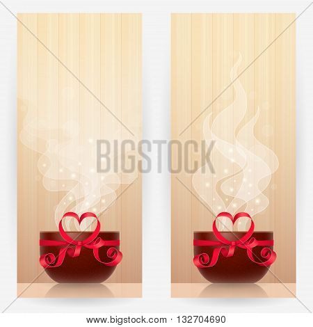 Two backgrounds with brown cups tied by red ribbon, with heart-shaped bow, with light steam above. Favourite drink concept