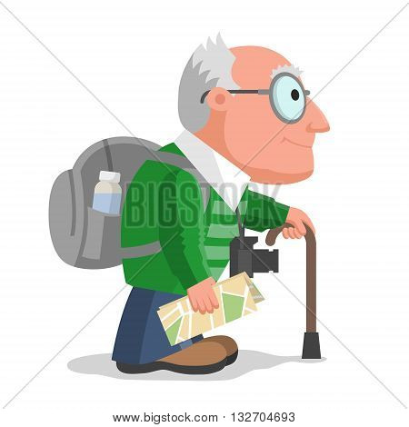 Old man is travelling with backpack camera and map. Hiking and tourism at any age