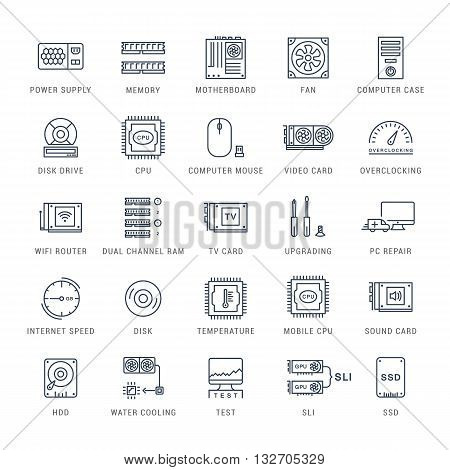 Set vector line icons with open path upgrading computer and hardware overclocking cooling test cpu and gpu with elements for mobile concepts and web apps. Collection modern infographic logo