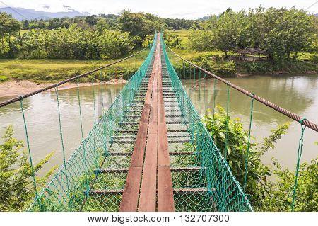 Traditional local suspension bridge at Kota Belud,Sabah.
