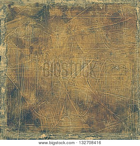Aged grunge graphic background with shabby texture in vintage style and different color patterns: yellow (beige); brown; gray; black