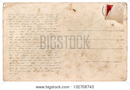 Used postcard. Vintage paper sheet isolated on white background. Sample handwritten text Lorem ipsum